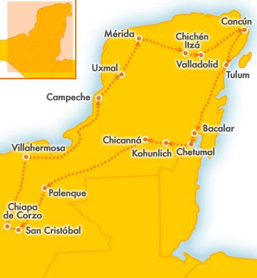 Cartina Yucatan E Chiapas.Tour In Auto A Noleggio Nello Yucatan Esplorare Lo Yucatan In Macchina Tour In Auto In Messico